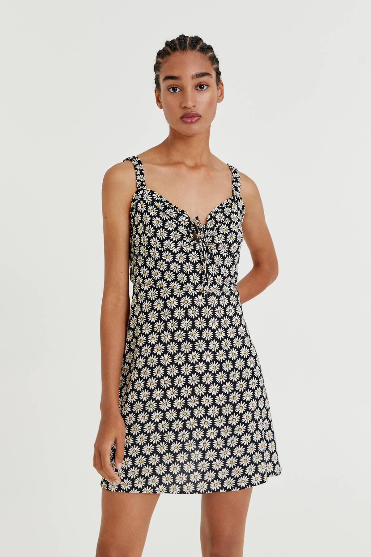 Pull & Bear Desenli askılı kısa elbise