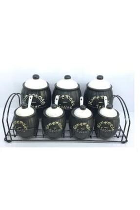 ACAR Stoneware 7 Parça Standlı Siyah Baharat Takımı 009569