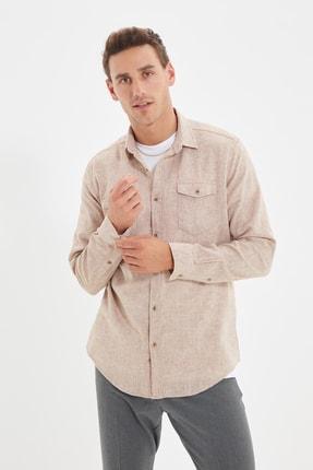 TRENDYOL MAN Vizon Erkek Keten Çift Cep Kapaklı Slim Fit Gömlek TMNSS20GO0100
