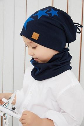 Babygiz Erkek Çocuk Lacivert Mavi Yıldızlı Bere Boyunluk Set Yumuşak Çift Katlı %100 Doğal Pamuklu Penye