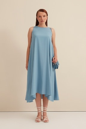 Gusto Arkası Çapraz Bağcıklı Uzun Elbise - Mavi