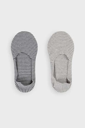 Oysho 2 Çift Çizgili Pamuklu Görünmez Çorap