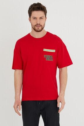 BREEZY Neon Şeritli Cepli T-shirt Kırmızı