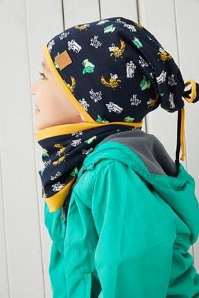 Babygiz Erkek Çocuk Lacivert Sarı  El Yapımı Pamuklu Çift Katlı Yumuşak Penye Figürlü Bere Boyunluk