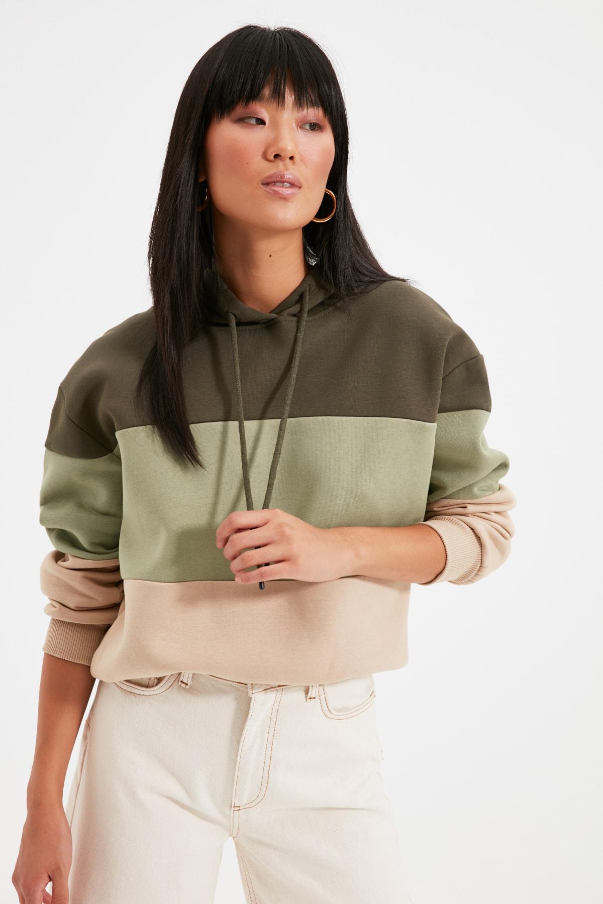 TRENDYOLMİLLA Haki Renk Bloklu Şardonlu Basic Örme Sweatshirt TWOAW20SW0792 2