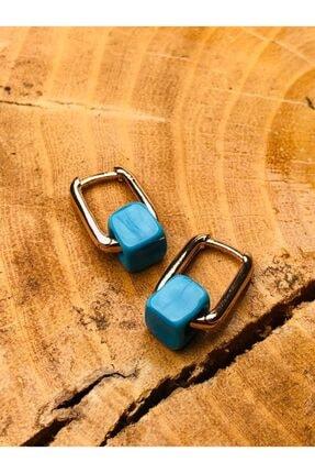 CeSo Accessorie'S Altın Kaplama Turkuaz Taşlı Tasarım Küpeler