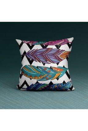 Artikel Renkli Yaprak Desenli -2 Dekoratif Yastık Kırlent Kılıfı 45x45 Cm