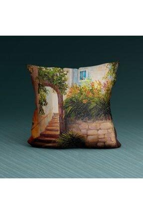 Artikel Bahçe Mazarası Desenli Dekoratif Yastık Kırlent Kılıfı 45x45 Cm