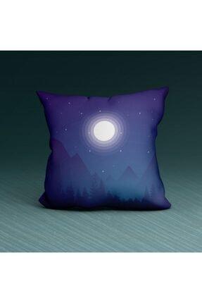 Artikel Gece Ve Ay -2 Desenli Dekoratif Çift Taraflı Yastık Kırlent Kılıfı 45x45 Cm