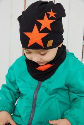 Babygiz Erkek Çocuk Siyah Turuncu Yıldızlı Bere Boyunluk Set Yumuşak Çift Katlı %100 Doğal Pamuklu Penye