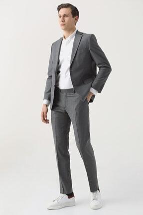 D'S Damat Comfort Fit Gri Düz Travel Takım Elbise