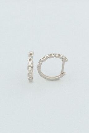So CHIC... Minimal Zincir Örme 18 Ayar Beyaz Altın Kaplama Gümüş Küpe