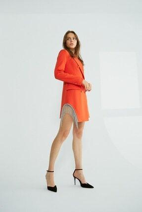 Robin Taş Püsküllü Ceket Elbise Orange