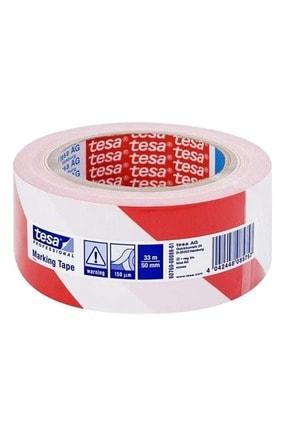 Tesa 60760 Yer Işaretleme Bandı Beyaz Kırmızı Şerit 50mmx33m