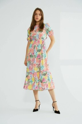 Robin Sırt Dekolteli Desenli Elbise Pembe