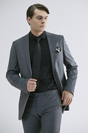 D'S Damat Regular Fit Gri Düz Takım Elbise