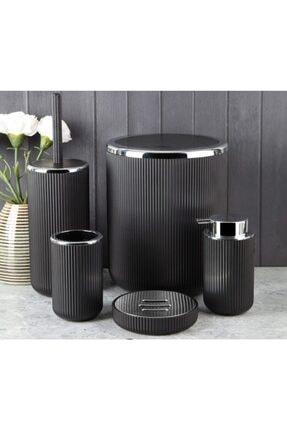 Perotti 5 Parça Siyah Lisbone Gümüş Akrilik Banyo Seti Takımı Sıvı Sabunluk (ulus Concept)