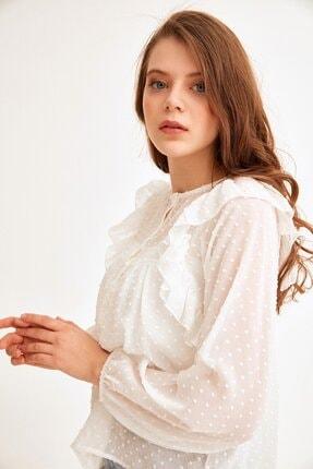 Fulla Moda Puantiyeli Fırfırlı Şifon Bluz