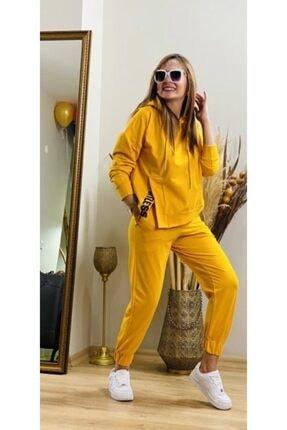 BİRSEN KARADENİZ BOUTİQUE Kadın Sarı Kapüşonlu Eşorfman Takımı