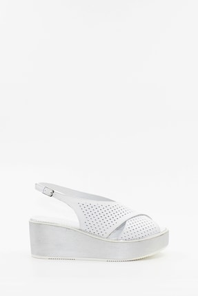 West To West Hakiki Deri Beyaz Kadın Sandalet