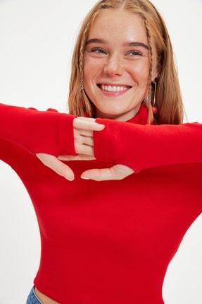 TRENDYOLMİLLA Kırmızı Balıkçı Yaka Parmak Detaylı Fitilli Örme Bluz TWOAW21BZ0071