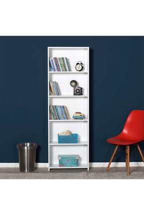 Adore Mobilya 5 Raflı Kitaplık-beyaz