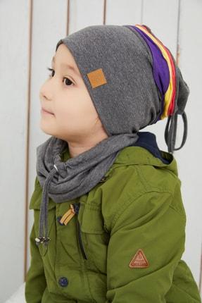 Babygiz Gri Üzerine Renkli Şeritli Çocuk Bebek Bere Boyunluk Set Yumuşak Çift Katlı %100 Doğal Pamuklu Penye