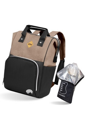 Kiwi T-bag Anne Bebek Sırt Bakım Çantası Kahve
