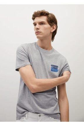 MANGO Man Yazılı Organik Pamuklu Tişört