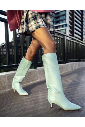 Shoego Mint Yeşil Mat Sivri Burun Ince Topuk Kadın Çizme