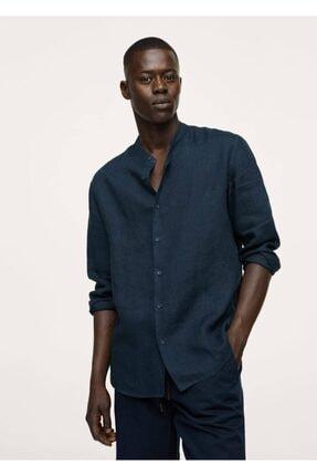 MANGO Man Erkek Lacivert Hakim Yakalı Regular Kesimli Keten Gömlek