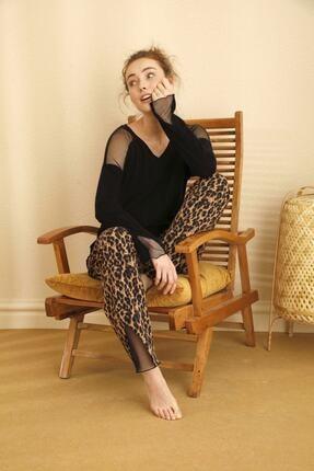Siyah İnci Pamuklu Likralı Tül Detaylı Pijama Takımı