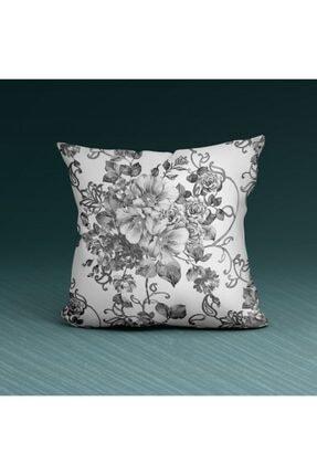 Artikel Beyaz Çiçek Desenli Dekoratif Yastık Kırlent Kılıfı 45x45 Cm