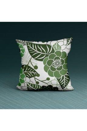 Artikel Green Flower Detaylı-2 Dekoratif Yastık Kırlent Kılıfı