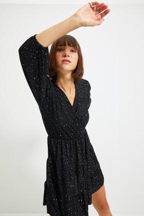 TRENDYOLMİLLA Siyah Baskılı Örme Elbise TWOAW22EL0104