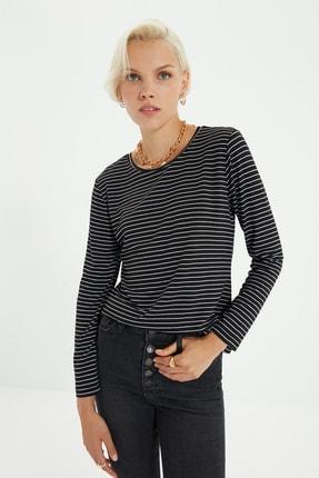 TRENDYOLMİLLA Siyah Çizgili Basic Uzun Kol Örme T-shirt TWOAW20TS0097