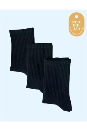 Neophilia Siyah 3'lü Unisex Tenis Çorabı