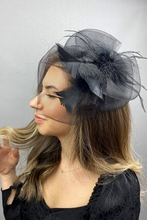 Hayalperest boncuk Siyah Vualet Nikah Şapkası
