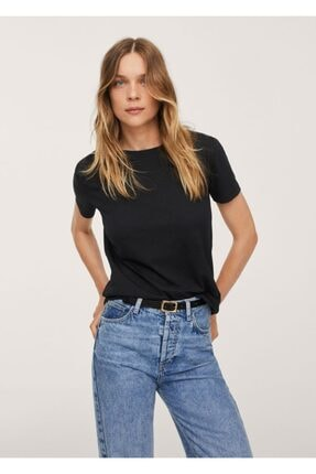 MANGO Woman Kadın Siyah Gündelik Koton Tişört