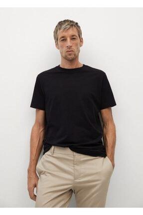 MANGO Man Erkek Siyah Sürdürülebilir Pamuklu Basic Tişört