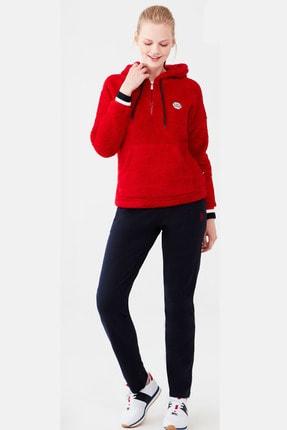 U.S. Polo Assn. Kadın Kırmızı Polar Kapşonlu Üst Pamuklu Alt Pijama Takım