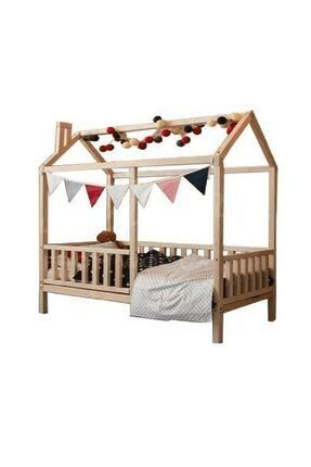 Ahşap Köşk Çatılı Montessori Yatak Karyola-90x190 Yatak Uyumlu