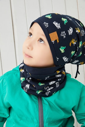 Babygiz Lacivert Figürlü Erkek Çocuk Bebek Bere Boyunluk Takım