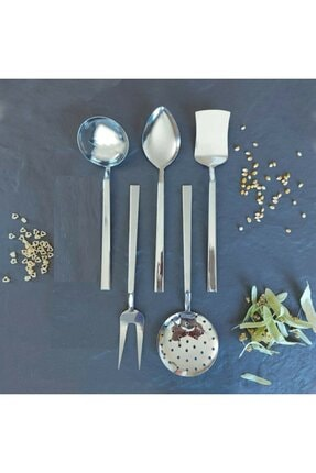 Kitchen Design Lab - 5 Parça Çelik Servis Takımı - Kepçe Kevgir Kaşık Servis Set