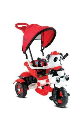 BabyHope 127 Little Panda Ebeveyn Kontrollü Tenteli Müzikli Tricycle Üç Teker Bisiklet -Kırmızı/Beyaz