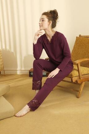 Siyah İnci Pamuklu Likralı Dantelli Pijama Takım