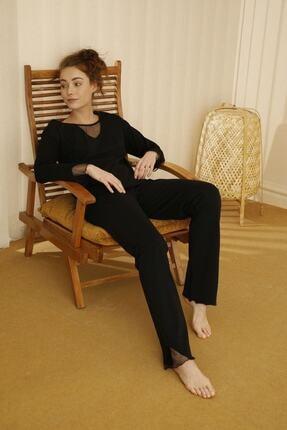 Siyah İnci Pamuklu Likralı Tül Detaylı Pijama Takım