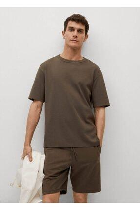 MANGO Man Erkek Haki Relaxed Kesim Pamuklu Tişört
