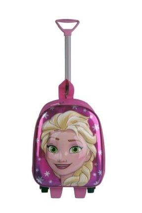 AYER TİCARET Kız Çocuk Pembe Frozen Elsa Çekçekli Tekerlekli Kreş Anaokulu Çantası