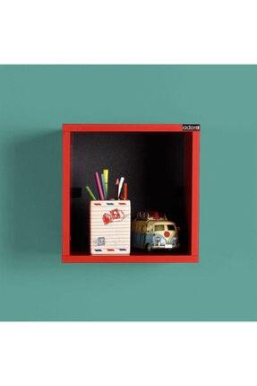 Adore Mobilya Dekoratif Kare Duvar Rafı - Kırmızı